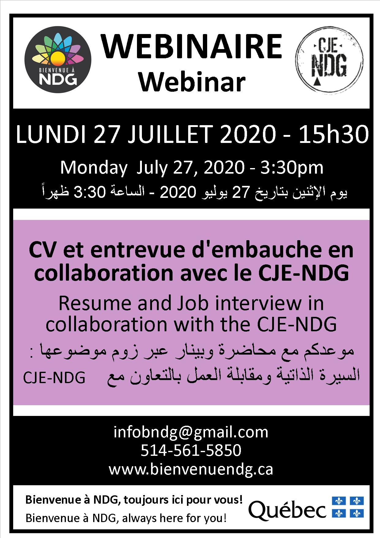 WEBINAR: Job Interview – in collaboration with the CJE-NDG