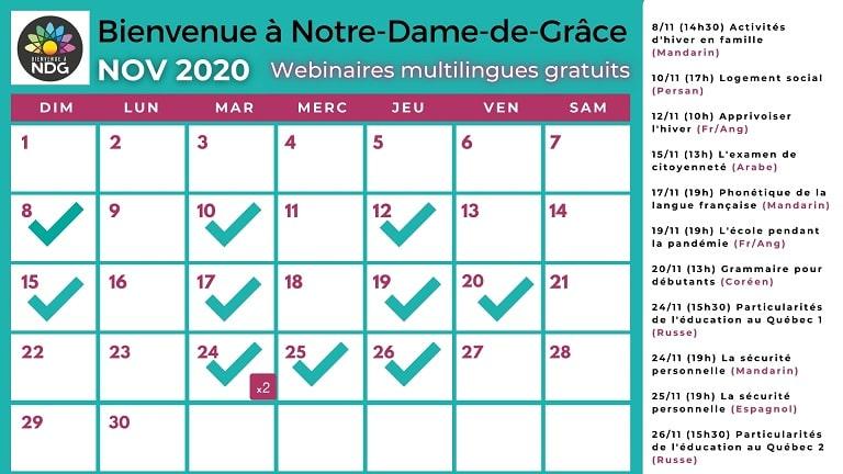 Calendrier des événements novembre 2020