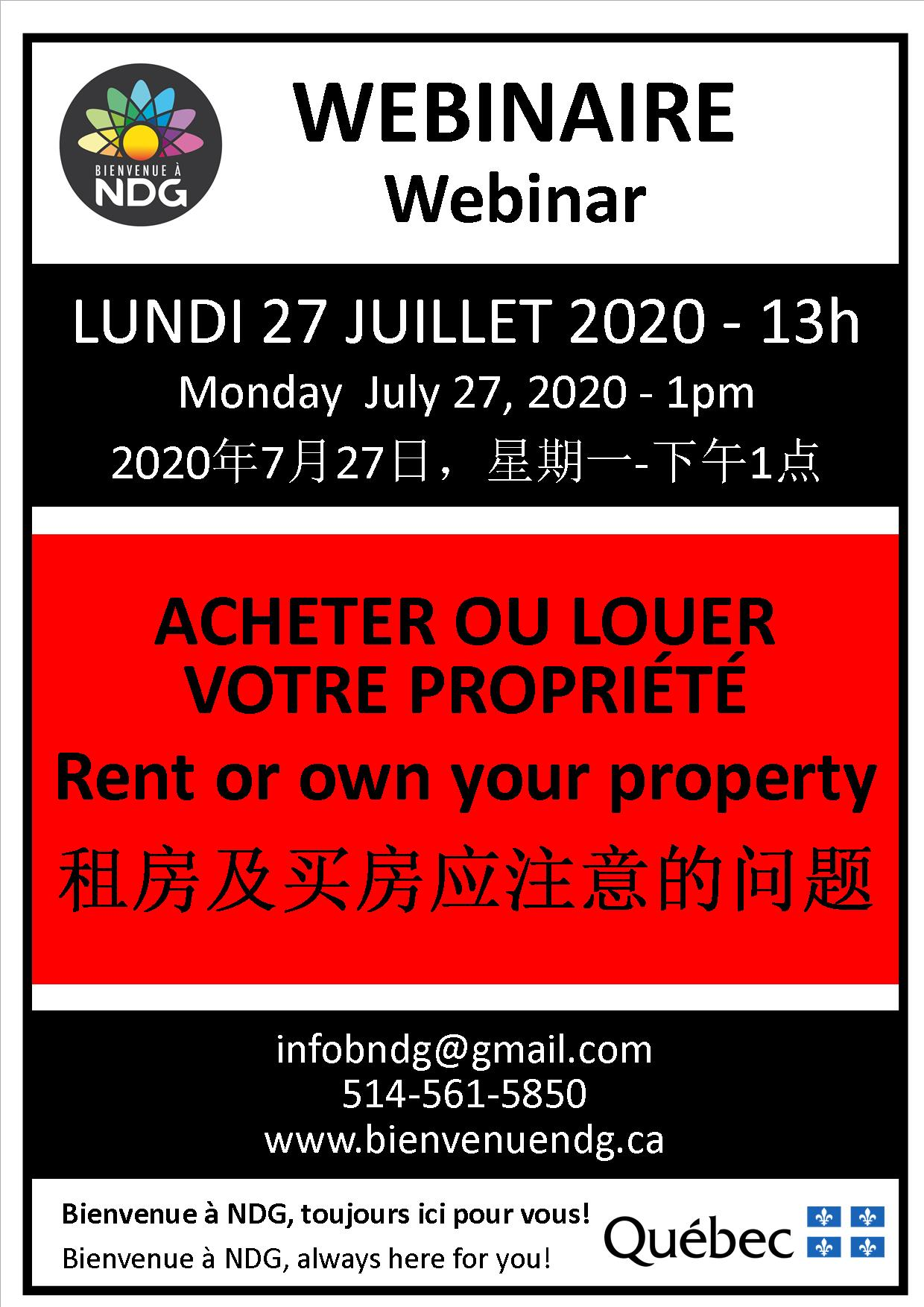 Webinar: Rent or own your property (in Mandarin)