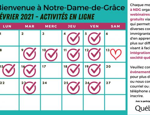 Calendrier des événements février 2021