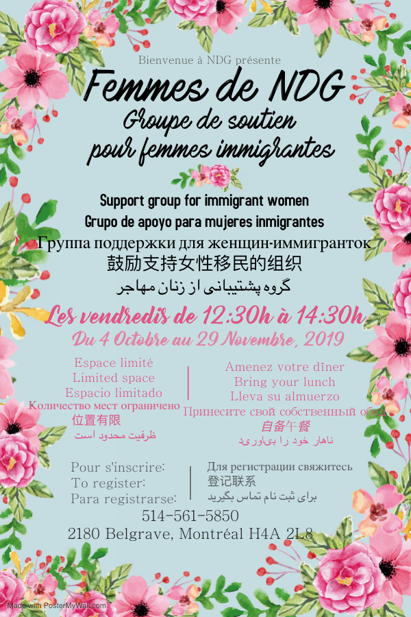 Femmes de NDG – groupe de soutien pour femmes immigrantes de NDG