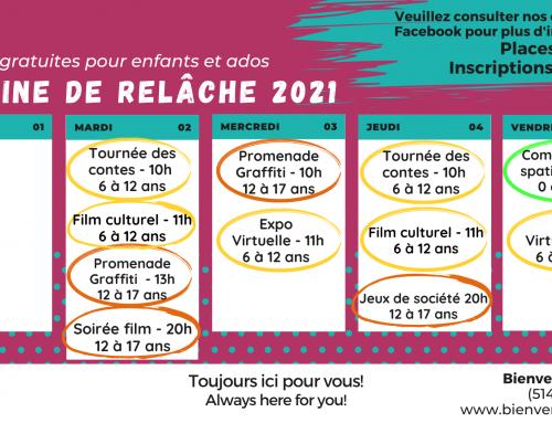 Semaine de relâche 2021: activités gratuites pour les enfants et les adolescents