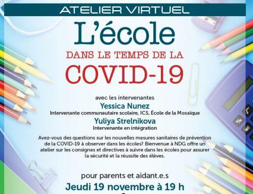 École dans le temps de la COVID-19: Atelier virtuel